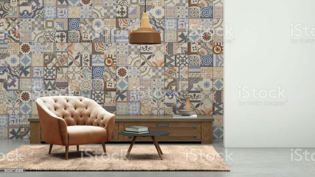 Apartment modern interior with armchair and tiled wall stock photo