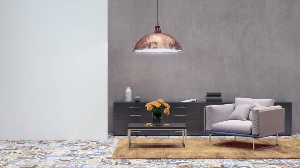 wohnung modernes interieur mit sessel und gefliesten wand - target raumgestaltung stock-fotos und bilder