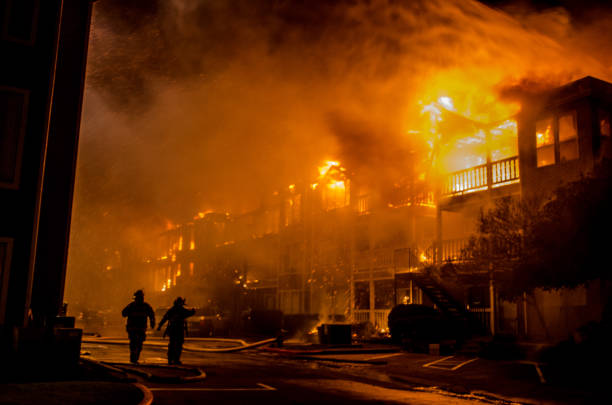 Apartment on fire stock photo