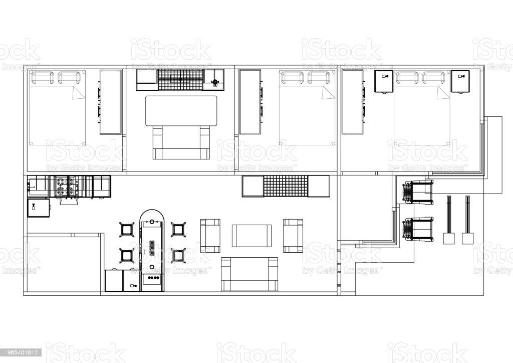 Apartment plan blueprint - isolated royalty-free stock photo