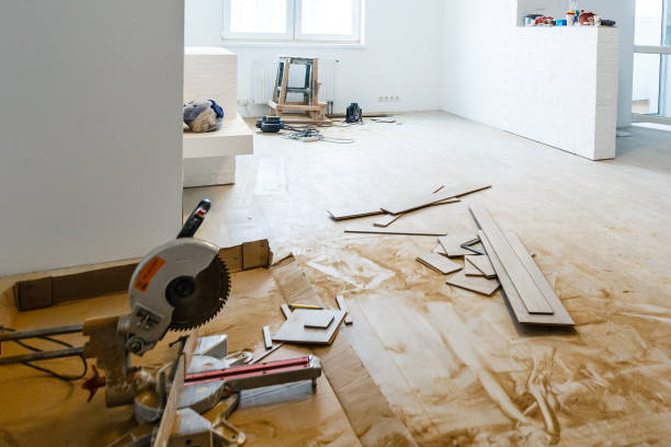 Apartment repair wall repair renovation house renovation home remodeling laminate stock photo