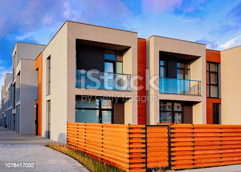 istock Apartment residential townhouse buildings outdoor concept 1078417032