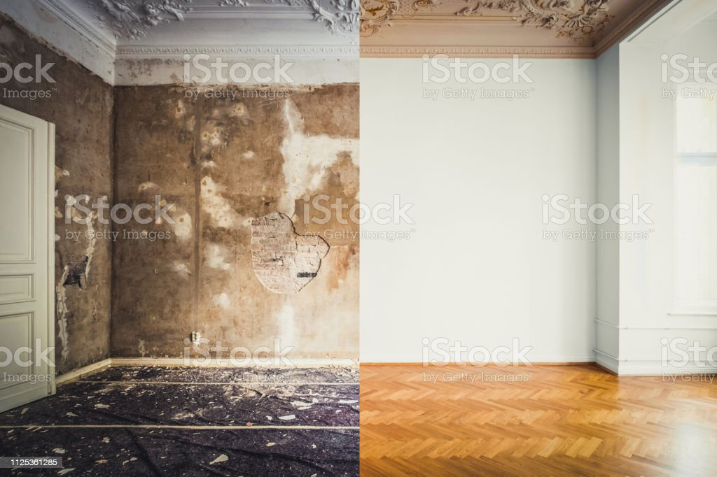 empty apartment room renovation, before and after restoration /...