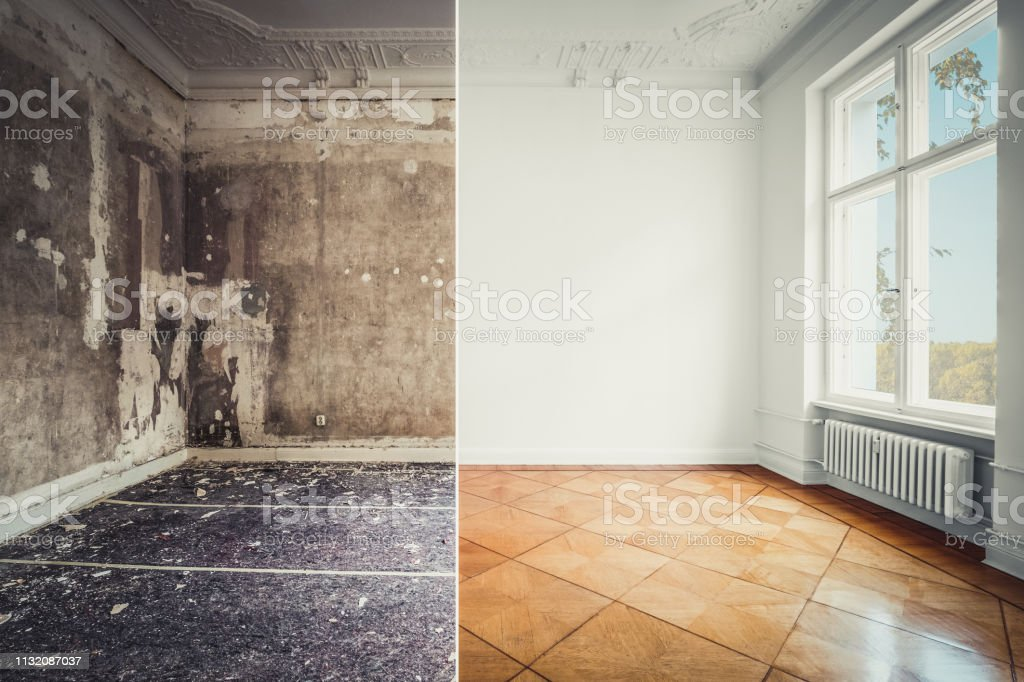 empty room in old building restoration concept, before and after...