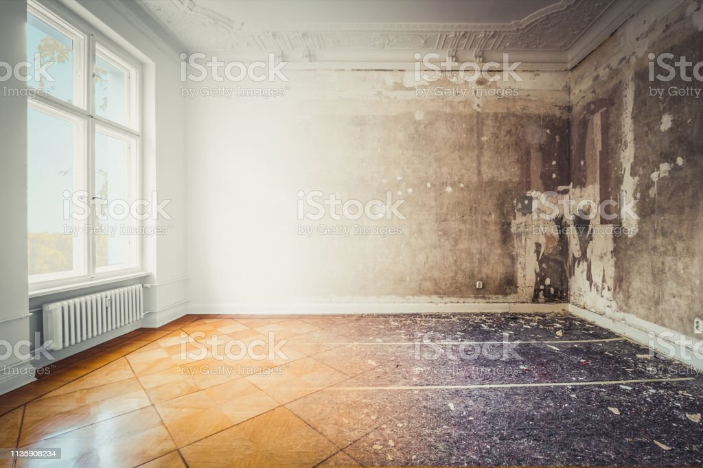 apartment room during renovation, before and after restoration /  refurbishment  - stock photo