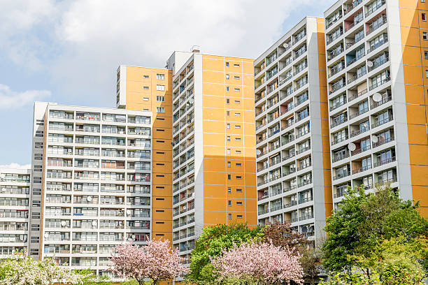 apartment tower in berlin, germany, stock photo