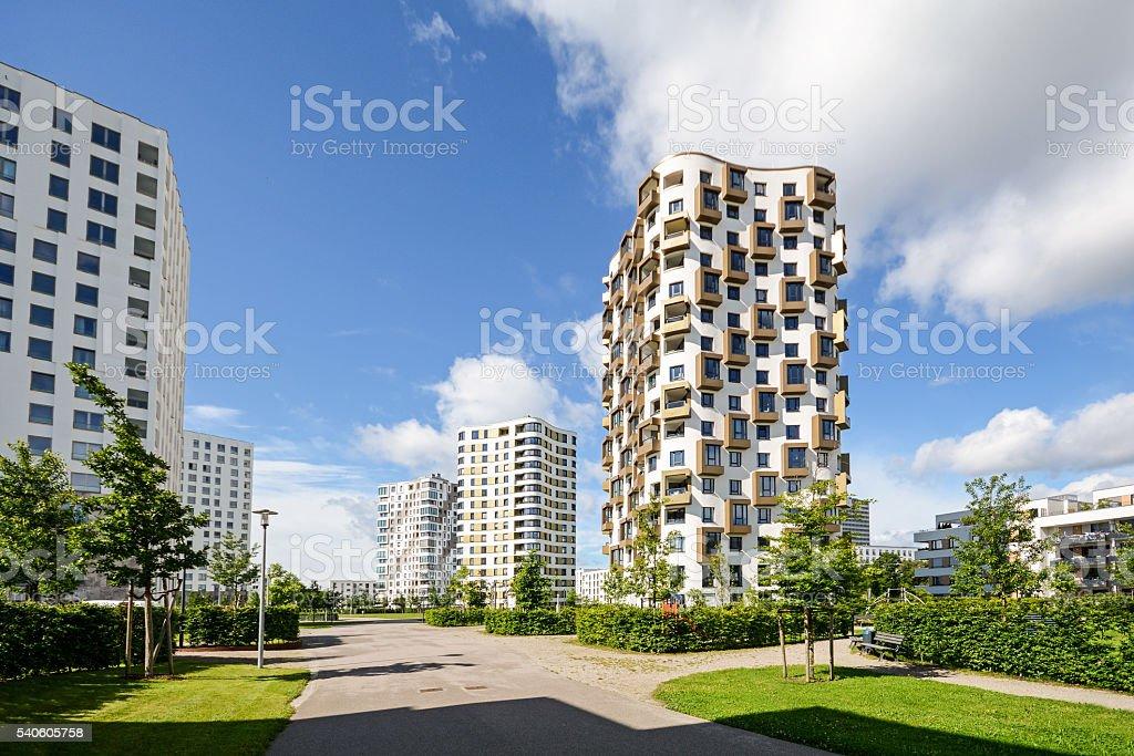 Wohnung Türme In Der Stadt, Moderne Wohnhäuser Lizenzfreies Stock Foto