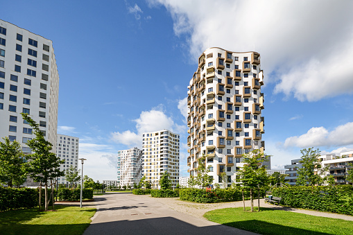 Apartment towers in the city, modern residential buildings