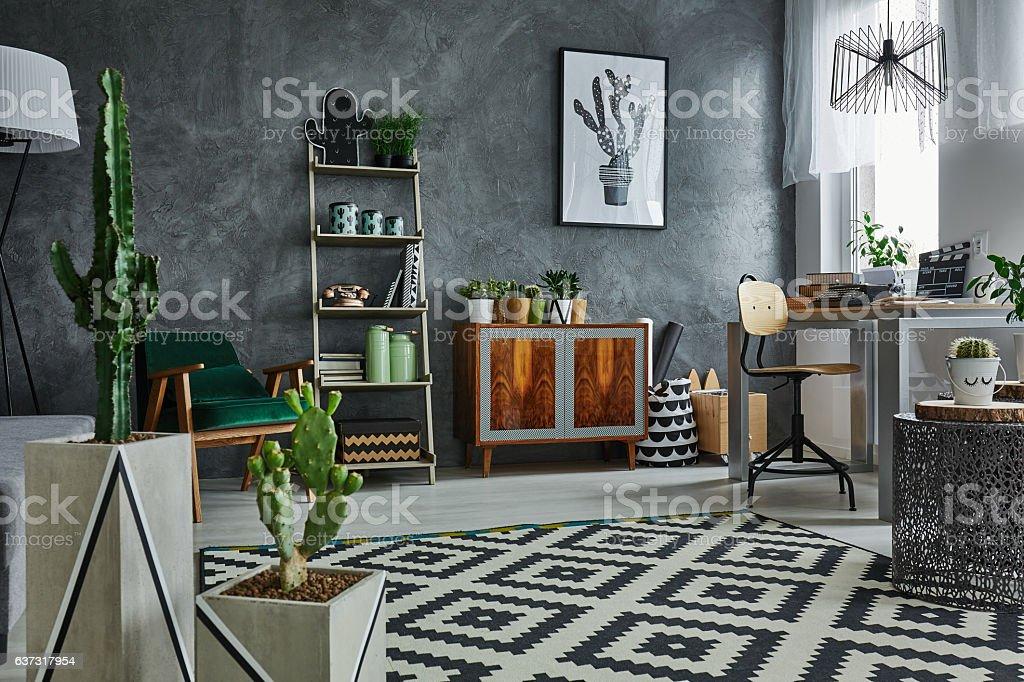 Apartment with decorative cactus stock photo