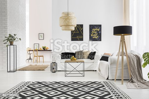 istock Apartment with white brick wall 641190270