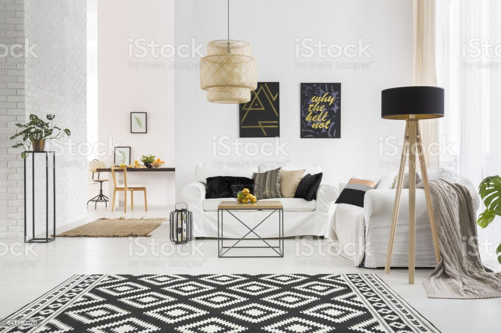 Apartment With White Brick Wall Stock Photo