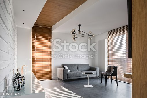 istock Apartment with wooden blinds 1137061492