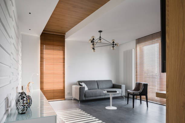 Apartment with wooden blinds stock photo