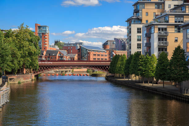 Apartments along the river Aire in the centre Leeds stock photo