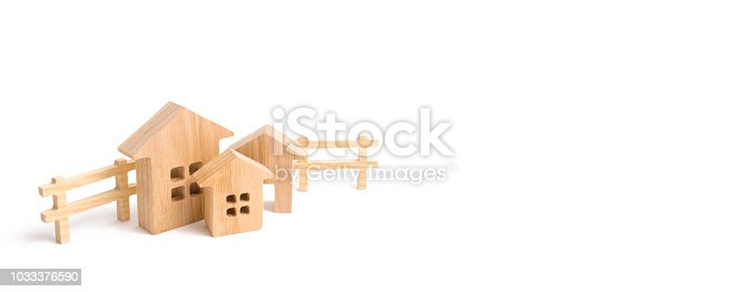 915688450istockphoto Apartments and apartments. City, settlement. Minimalism. for presentations. real estate market. Three houses on a white background and people. Buying and selling of real estate, construction. White 1033376590