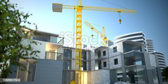 585292106 istock photo Apartments construction, 3D illustration 1088802504