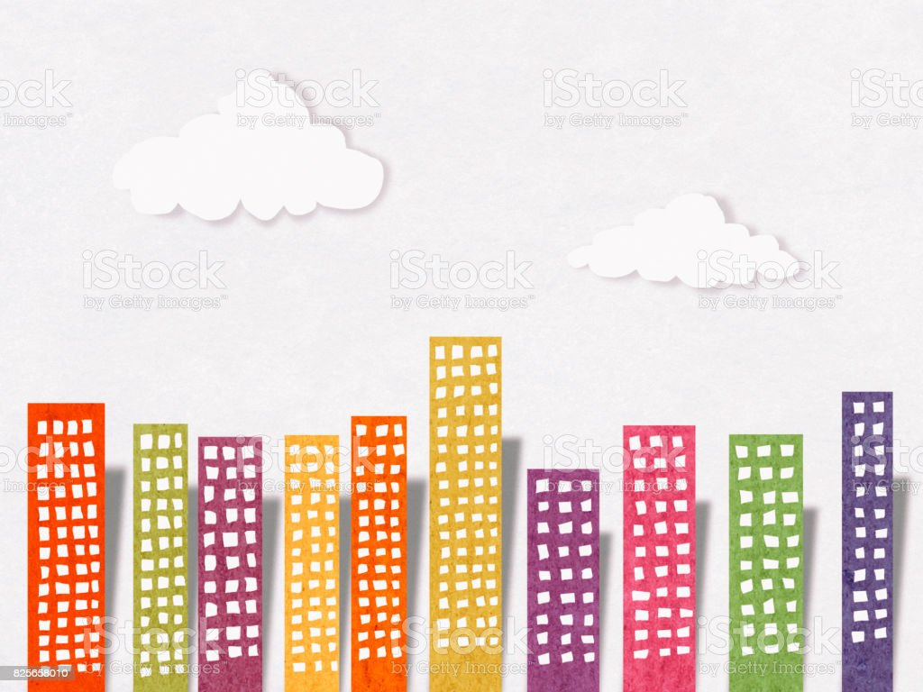 Apartments in city, paper cutting style stock photo