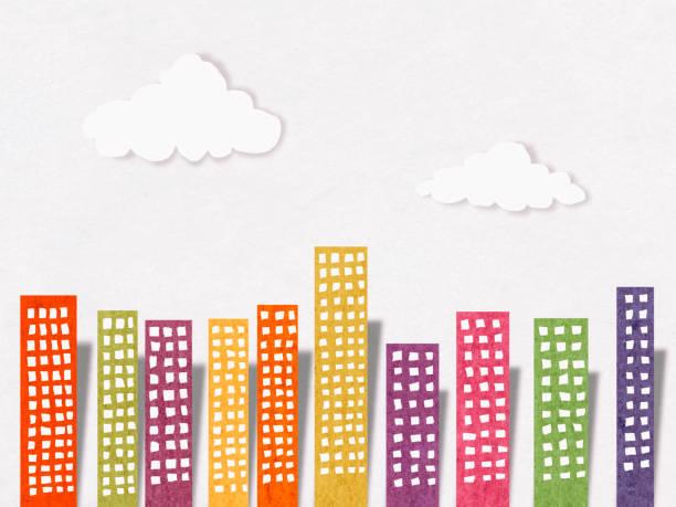 apartments in city, paper cutting style - fumetto creazione artistica foto e immagini stock