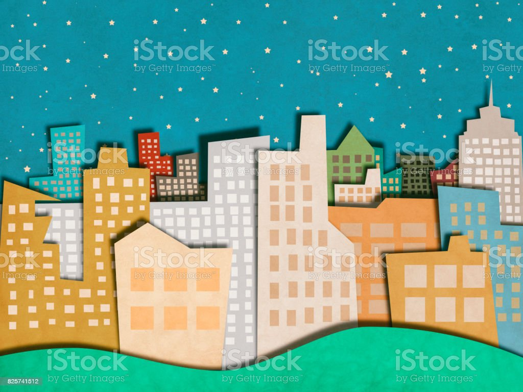 Apartments in city paper cutting style stock photo