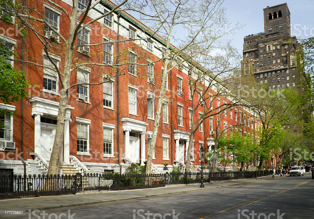 Apartments in front of Washington Sq. Park, NY stock photo