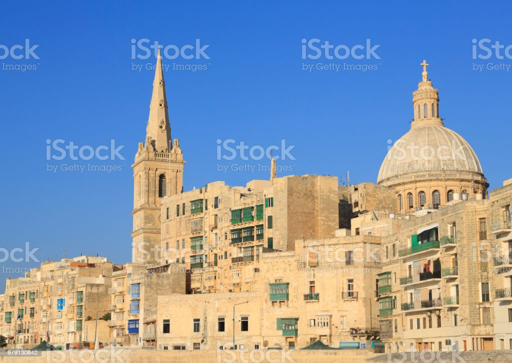 Apartments in Valletta, the capital city of Malta. stock photo