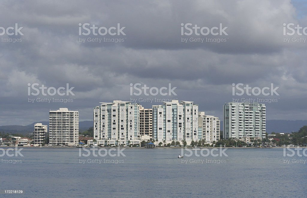 Apartments on a beach front royalty-free stock photo