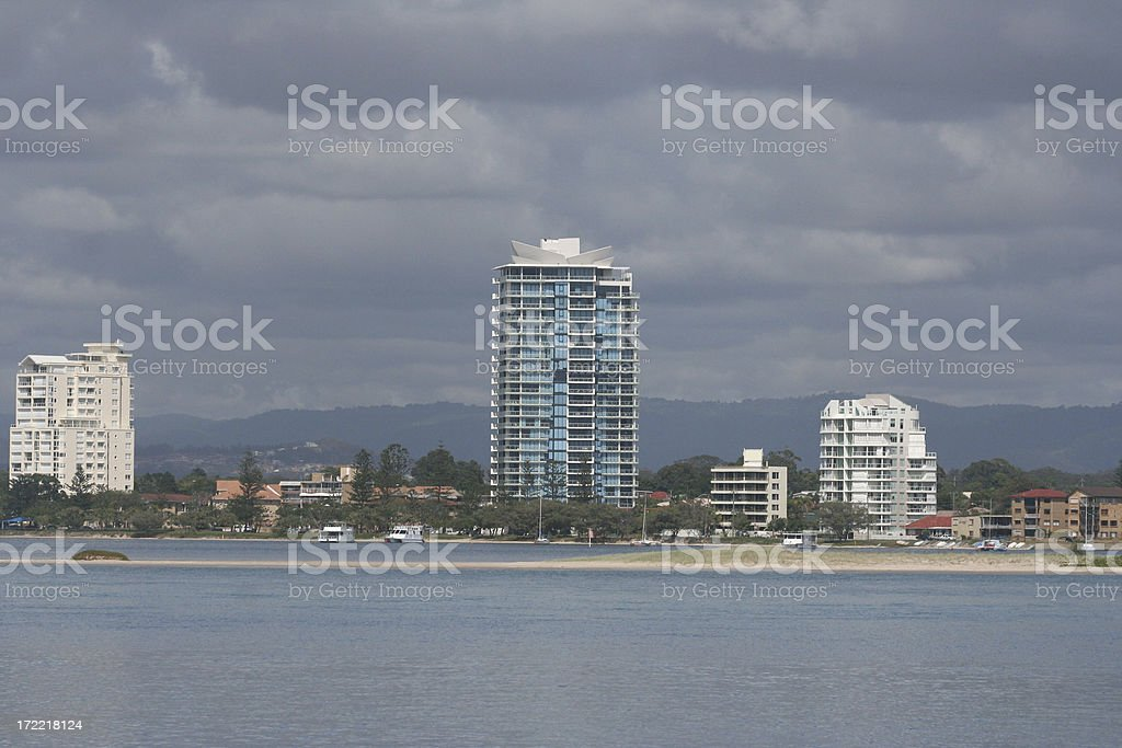 apartments on ocean front royalty-free stock photo
