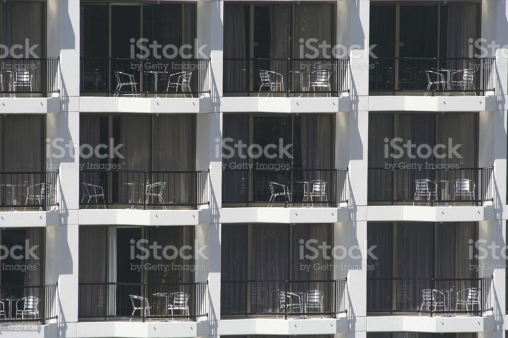apartments, windows,  balconies and outdoor furniture - Royalty-free Apartment Stock Photo