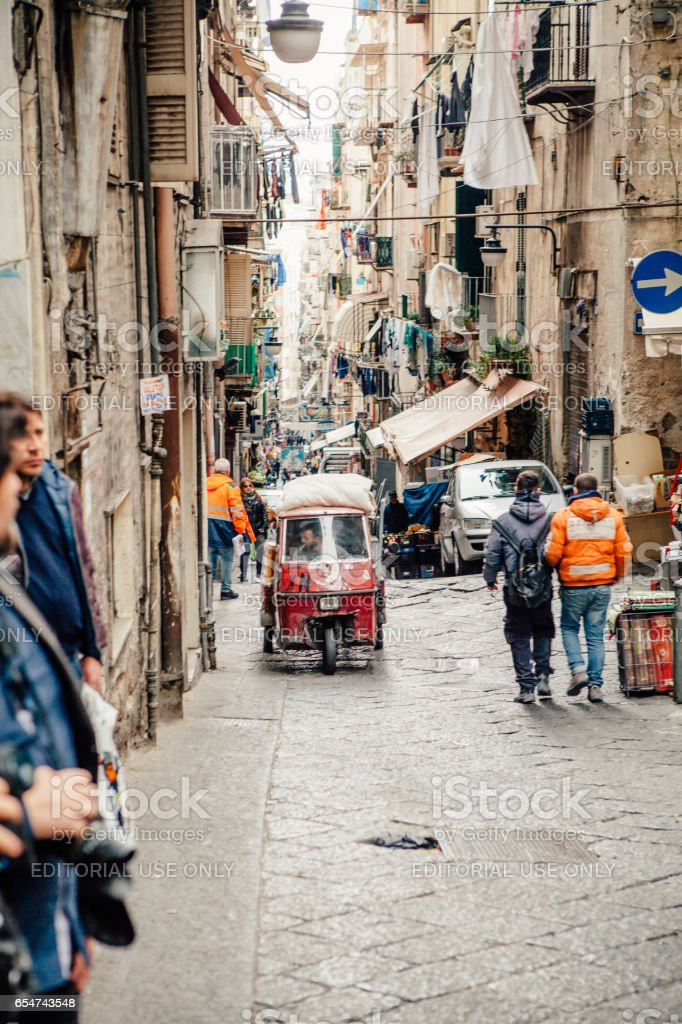 Ape car in Naples street - foto stock