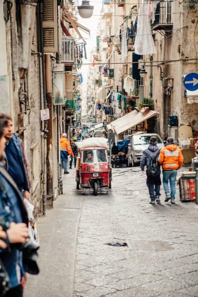Ape car in Naples street - foto stock