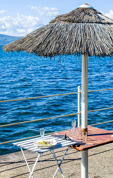 aperitif at the lake - appetizer - appetiser - appetiser stock photos and pictures