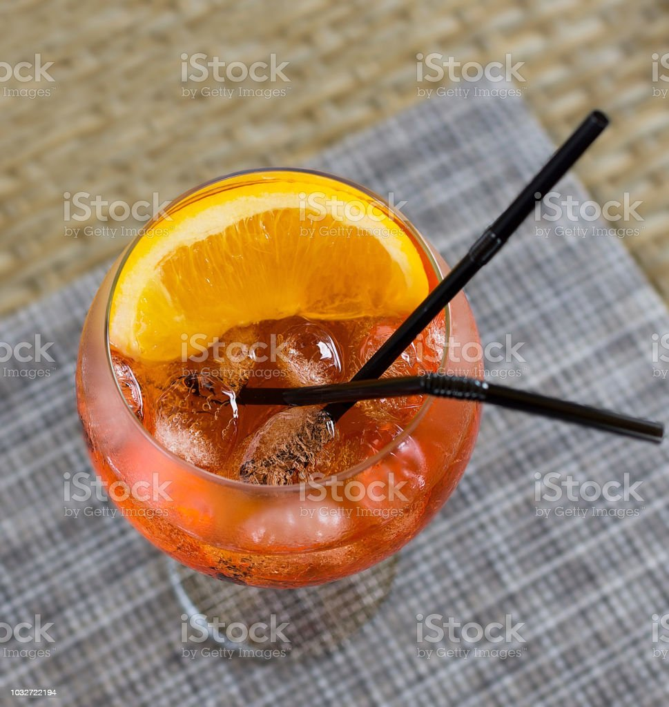 Aperol Spritz cocktail macro photo stock photo