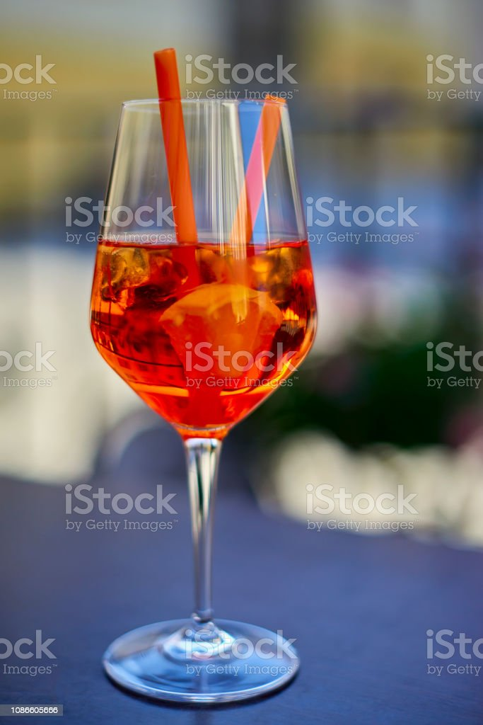 Aperol Spritz in glass, close up on dark background stock photo