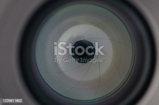 istock Aperture in camera lens 1225611802