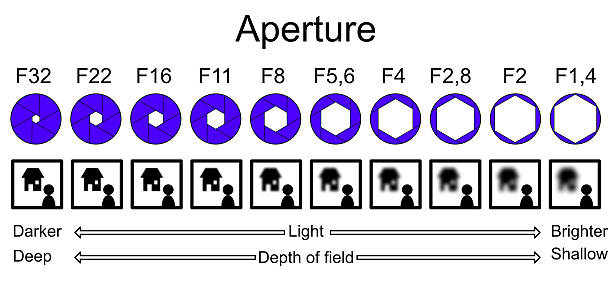 aperture infographic explaining depth of field - aperture stock pictures, royalty-free photos & images