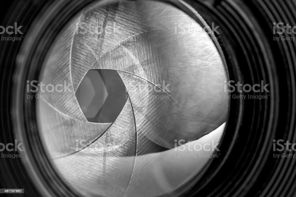 Aperture of old retro camera lens stock photo