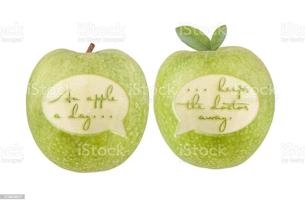 Apfel Sprichwort stock photo