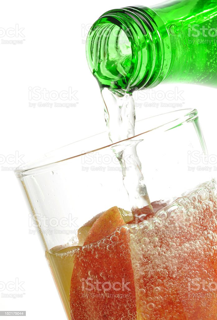 Apfelschorle: Apple juice and mineral water stock photo