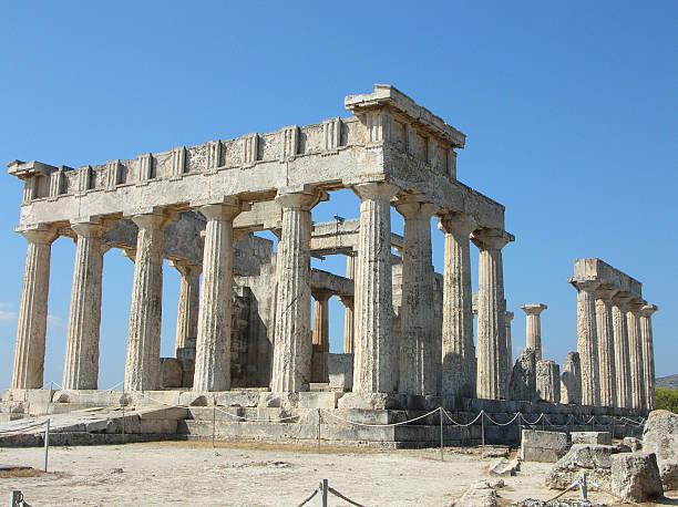 Aphaia temple in Aegina - Greece stock photo