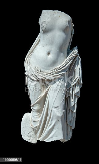 Aphrodite statue on black background