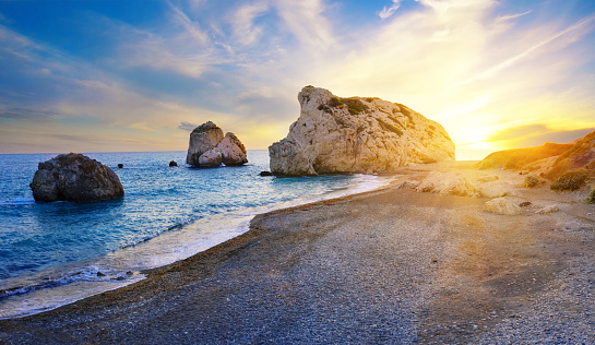 istock Aphrodite's beach and stone at sunset in bright sunshine 1191902012