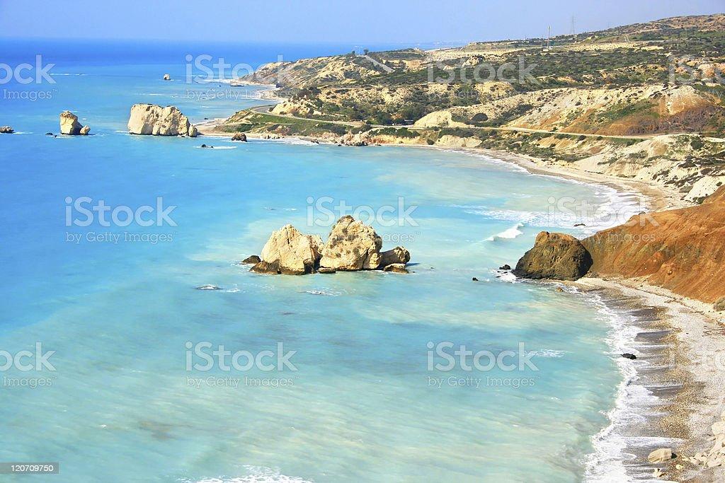 Legendario lugar de nacimiento de afrodita en Chipre de Pafos - foto de stock