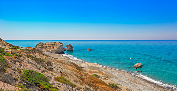 istock Aphrodite's Rock and Bay in Cyprus 594012384