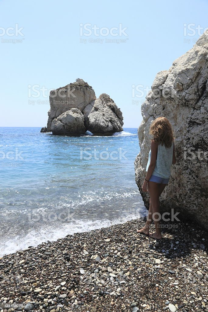 Aphrodite's rock in Cyprus stock photo