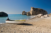 """""""Aphrodite's Rock, Cyprus. Greek legend has it that Aphrodite, goddess of beauty was born of of the surf at this rock."""""""