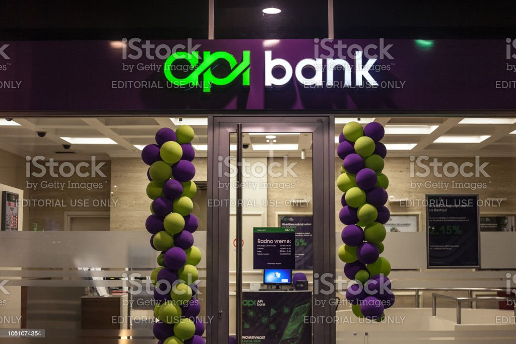 Api Bank Banka logo on their newly opened office in Belgrade. Held by Russian capitals, APIBank is the newest Serbian bank stock photo