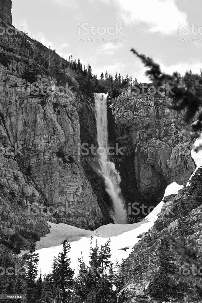 Apikuni Falls in Black and White royalty-free stock photo