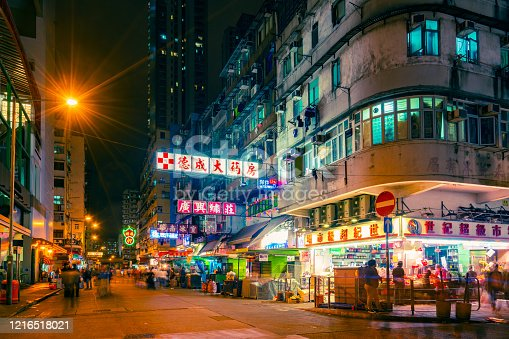 Apliu street at night in Sham Shui Po district, surrounded by advertising placards, Sham Shui Po is known for its street market for electronic devices.