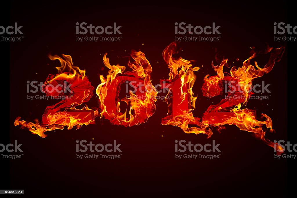 Apocalypse 2012. Burning numbers. royalty-free stock photo