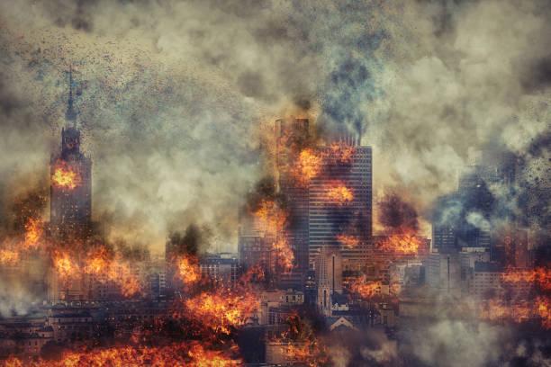 Apocalypse. Burning city, abstract vision. Photo manipulation stock photo